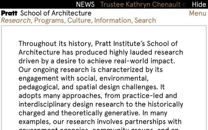 Screenshot of Pratt school of architecture website