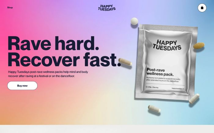 Screenshot of Post-rave wellness packs | Rave recovery supplement | Comedown – Happy Tuesdays Store