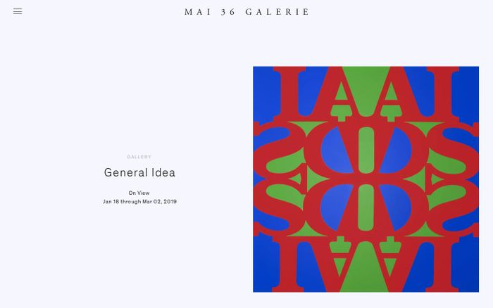Screenshot of Mai 36 Galerie, Zurich — An international contemporary art gallery