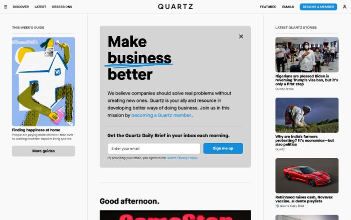 Screenshot of Quartz website