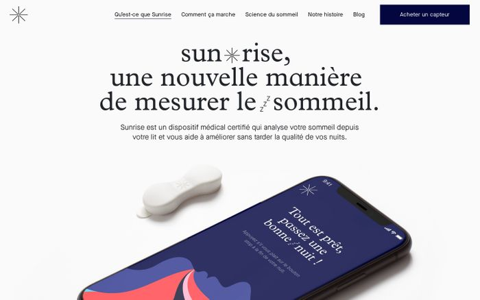 Screenshot of Un diagnostic du sommeil depuis la maison – Sunrise