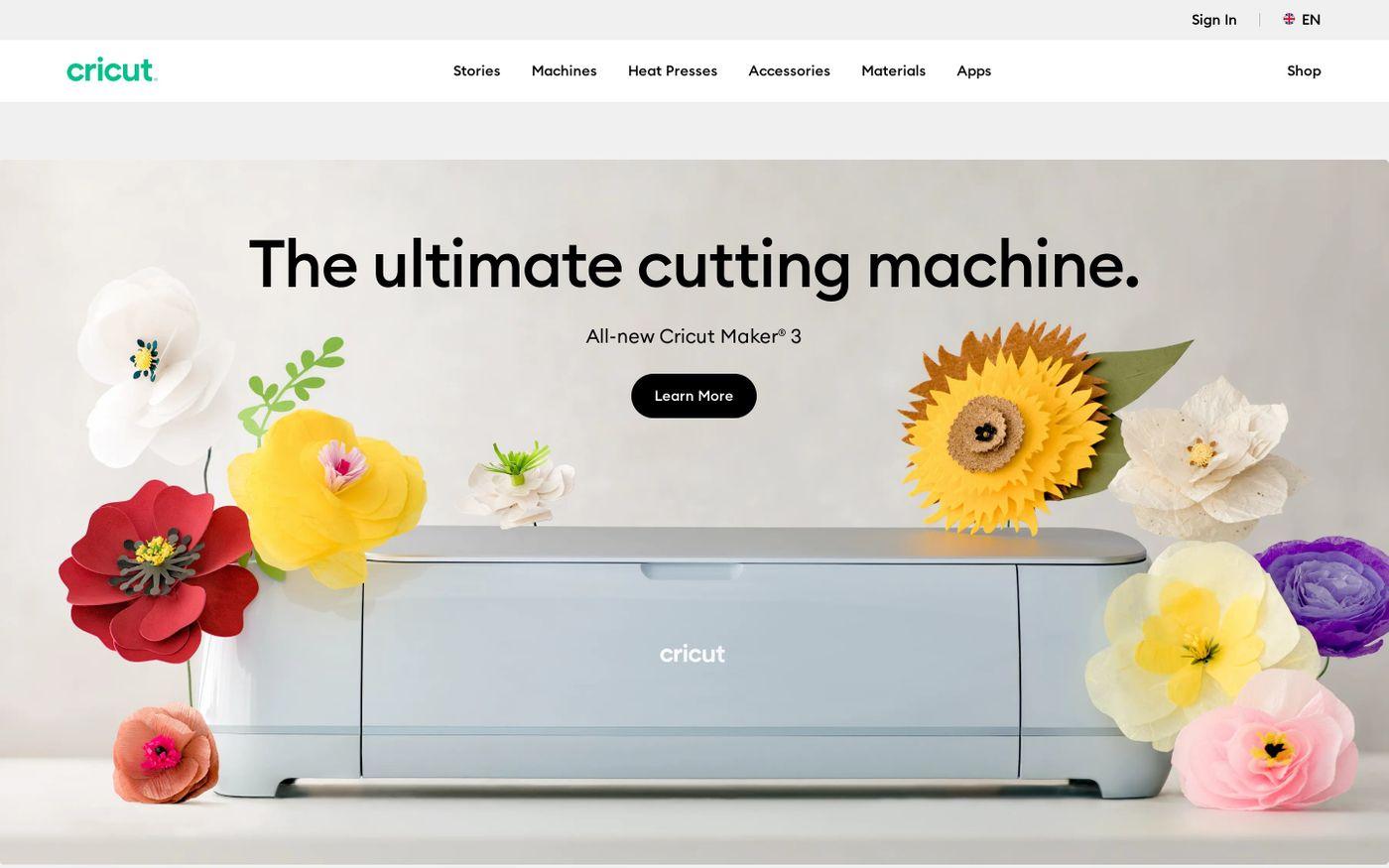 Screenshot of Cricut website