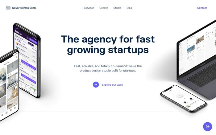 Screenshot of Never Before Seen website