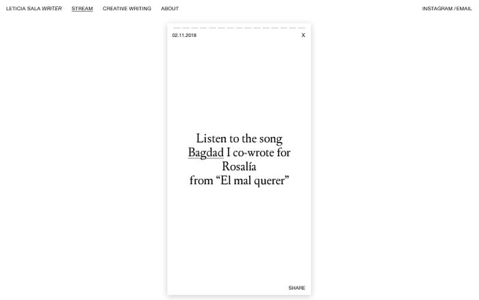 Screenshot of Leticia Sala – Creative Writing, Poems, Essays