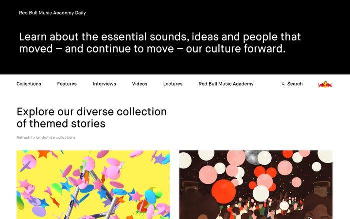 Screenshot of Red Bull Music Academy Daily website