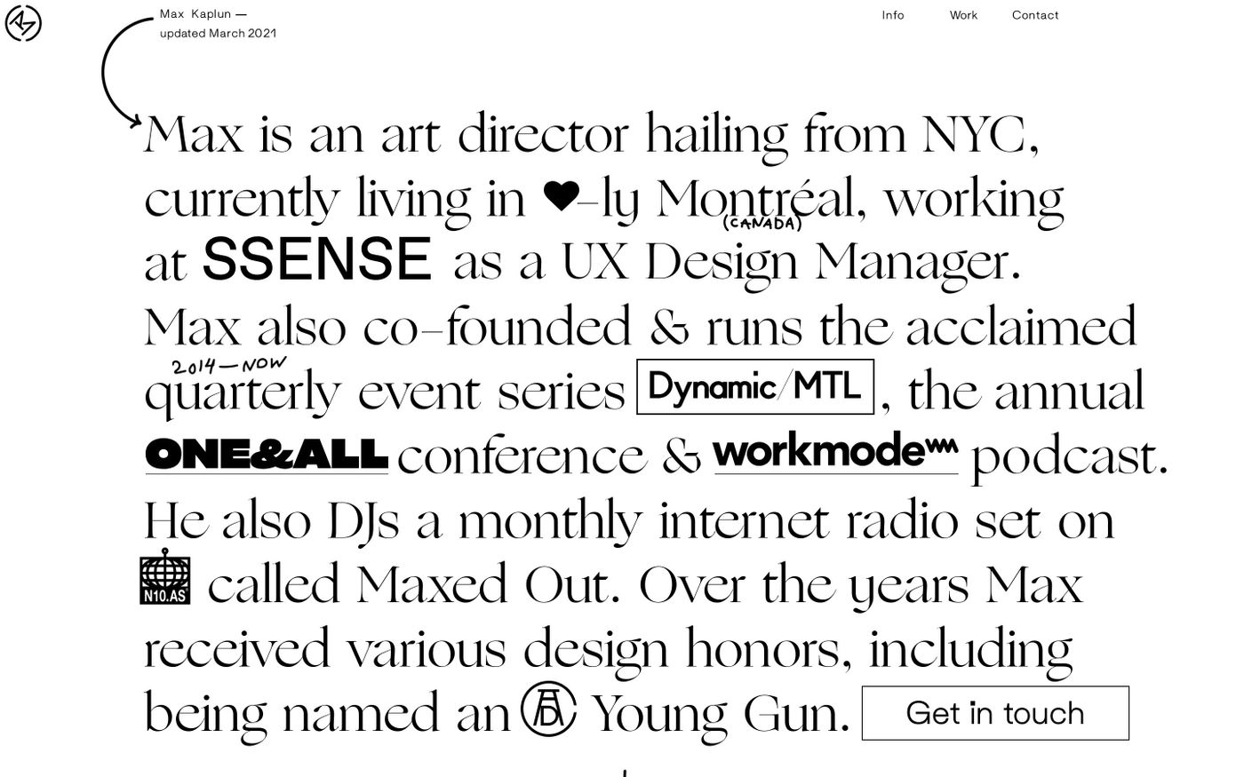 Screenshot of Max Kaplun website