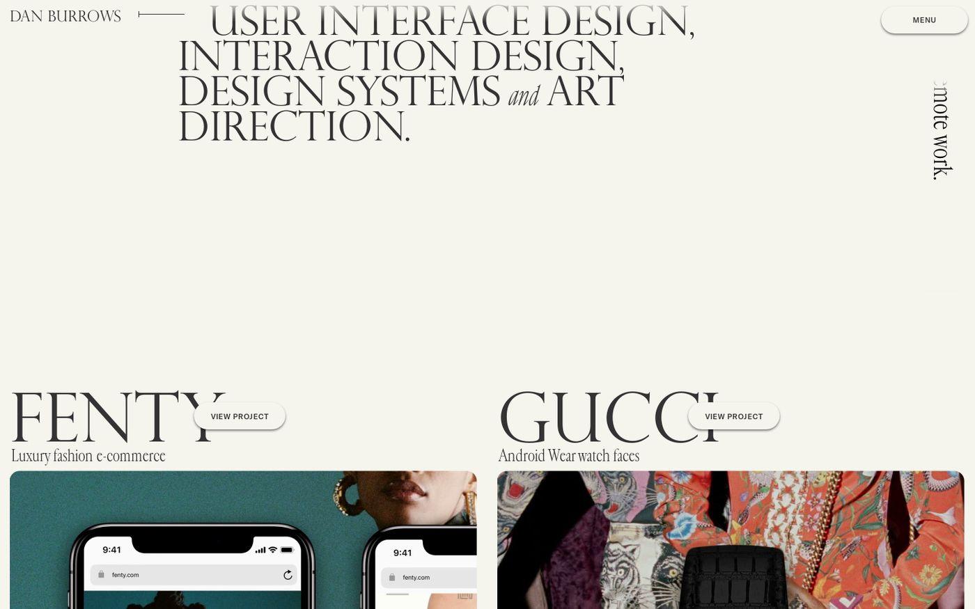 Screenshot of Dan Burrows website
