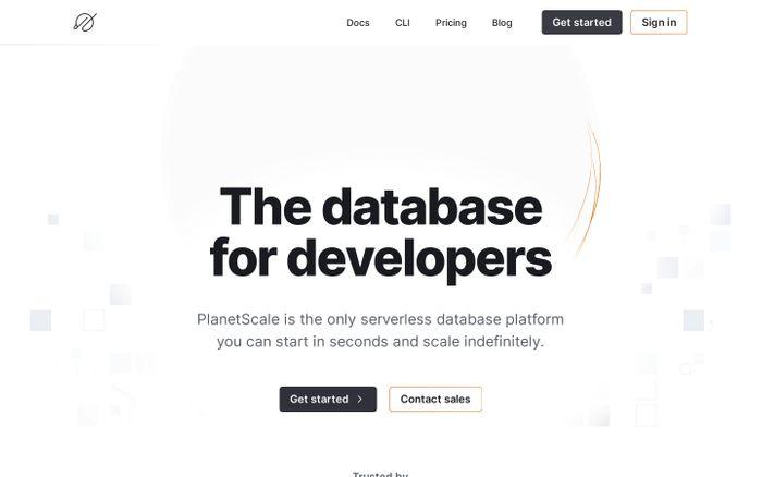 Screenshot of PlanetScale website