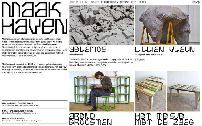 Screenshot of Studios & Kunstenaars | Maakhaven