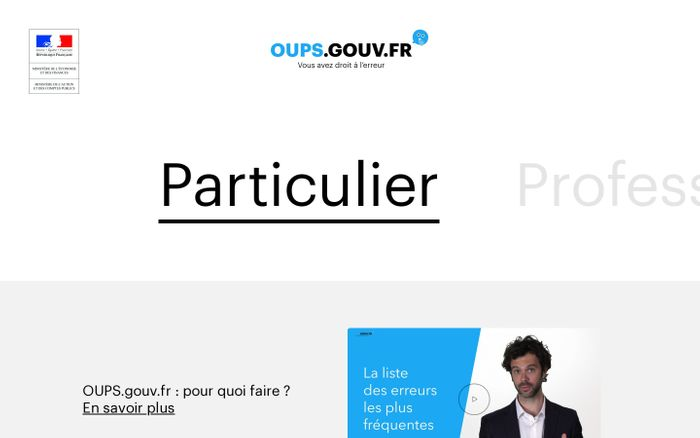 Screenshot of Oups | Particulier