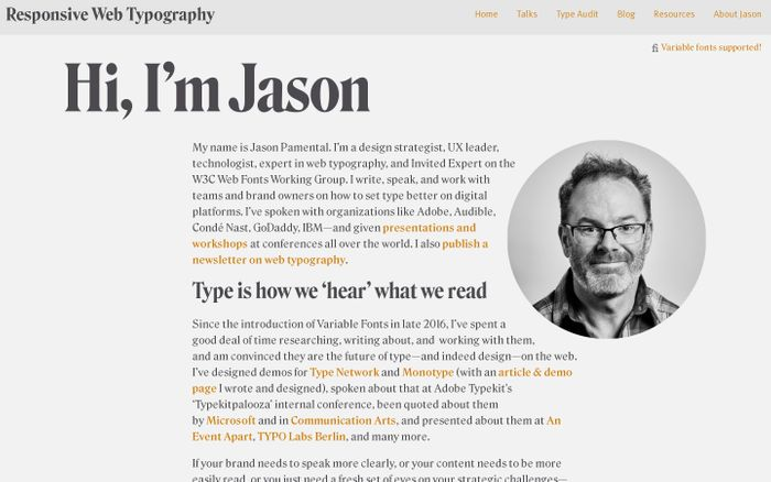 Screenshot of Jason Pamental website