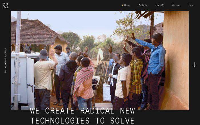 Screenshot of X –The Moonshot Factory website