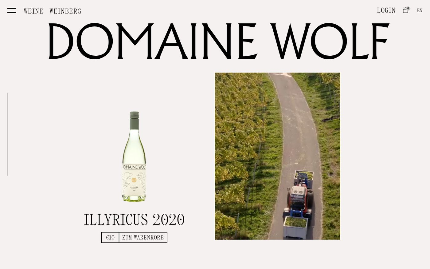 Screenshot of Domaine Wolf website