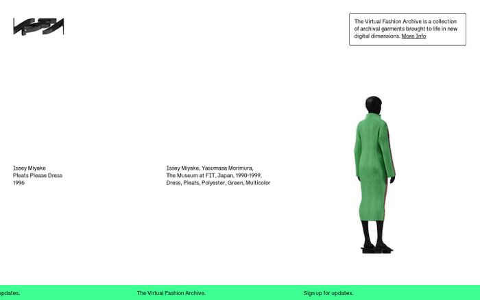 Screenshot of The Virtual Fashion Archive — A collection of garments brought to life in new digital dimensions.