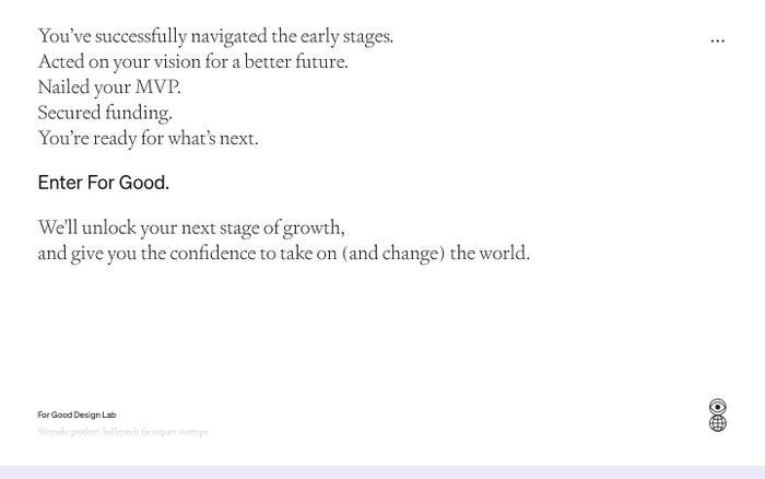 Screenshot of For Good Design Lab website