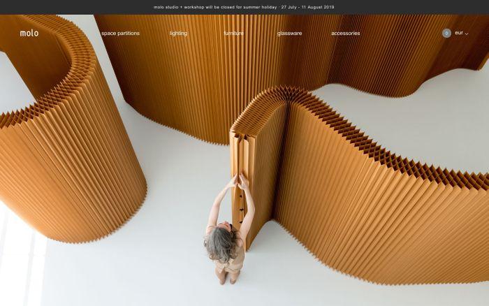 Screenshot of molo - paper furniture design - modern cardboard furniture
