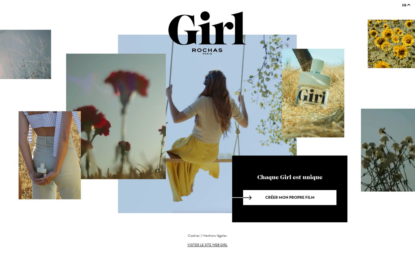 Screenshot of Girl experience Rochat website