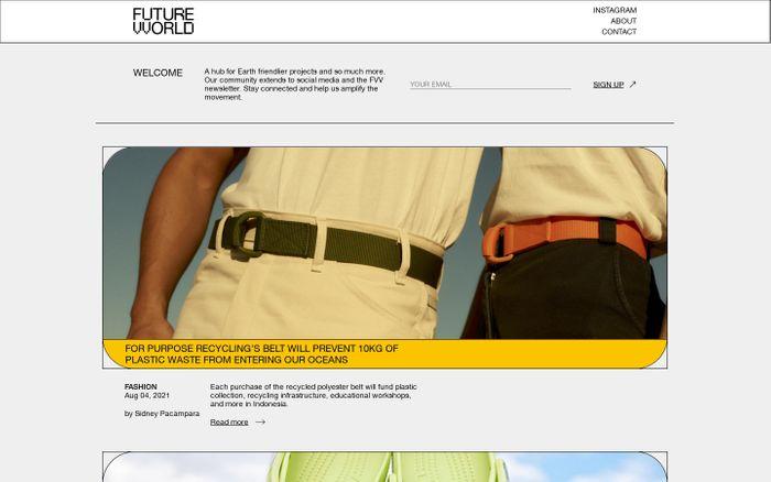 Screenshot of Futurevvorld website