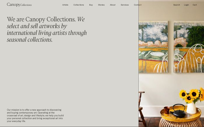 Screenshot of Canopy Collections website