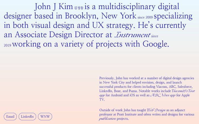 Screenshot of John Jung Kim website