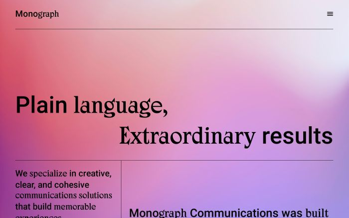 Screenshot of Monograph Communications