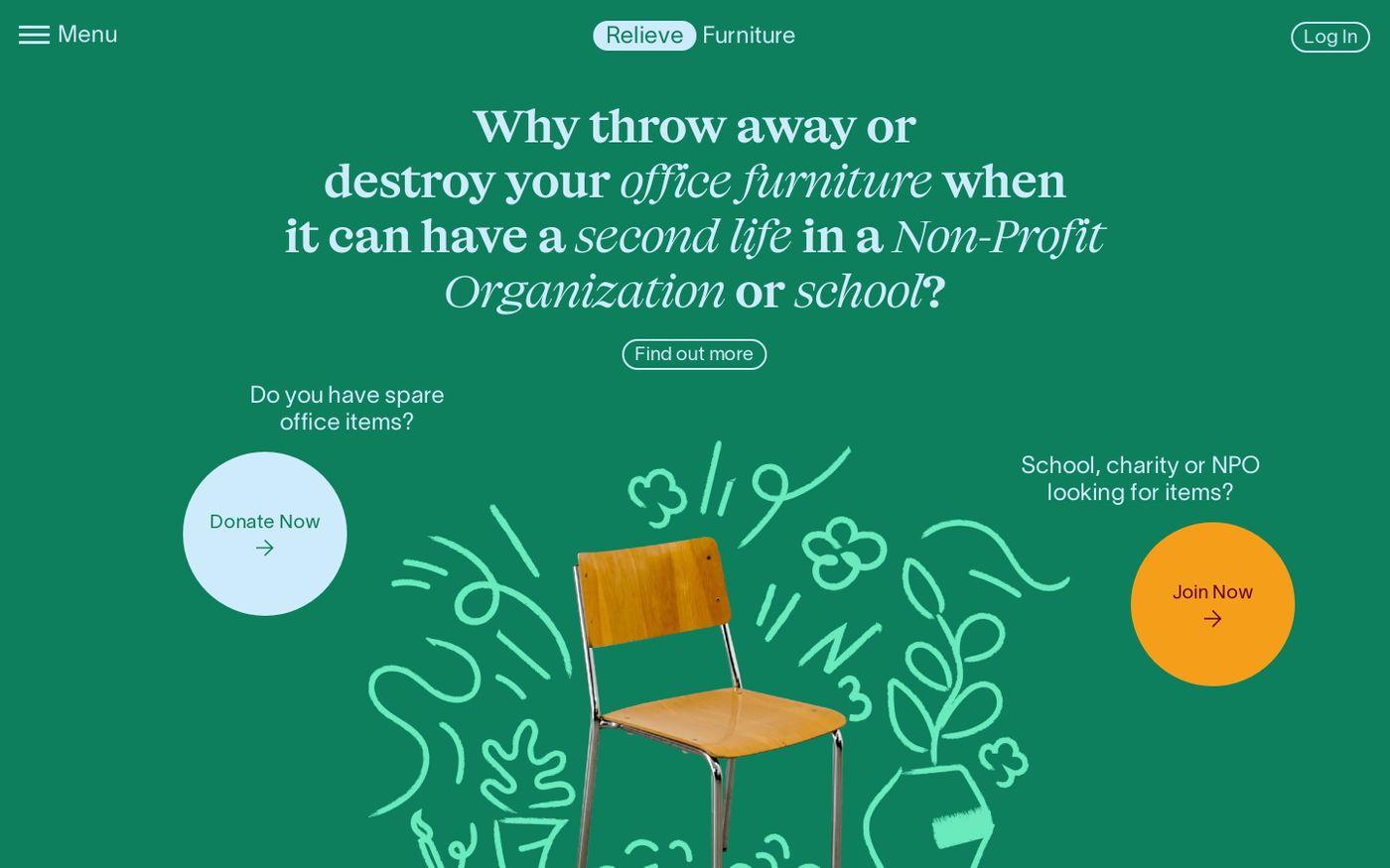 Screenshot of Relieve furniture website