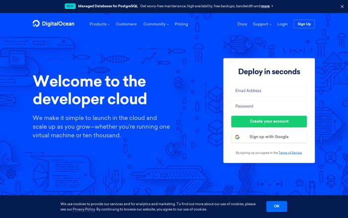 Screenshot of DigitalOcean - Cloud Computing, Simplicity at Scale