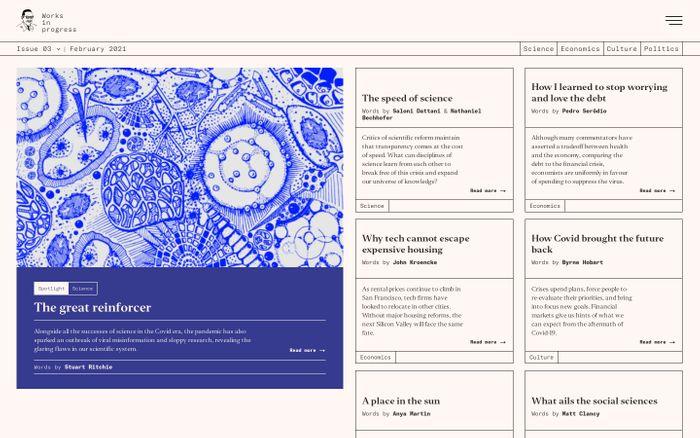 Screenshot of Works in Progress website