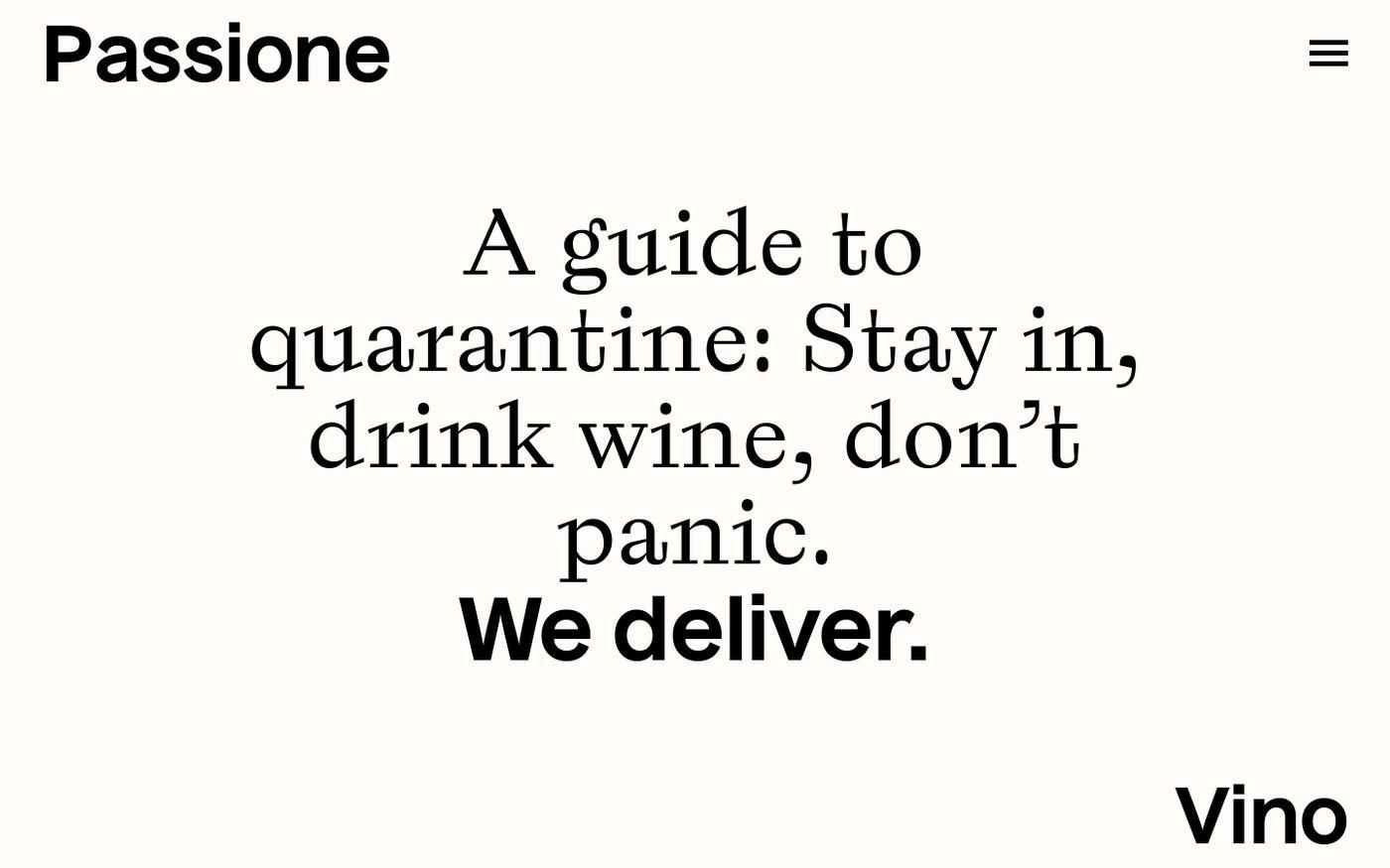 Screenshot of Passione Vino website