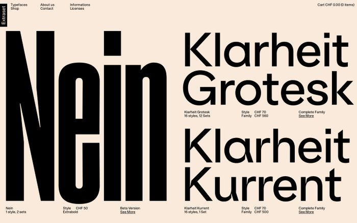Screenshot of Extraset | Independent Swiss Type Foundry