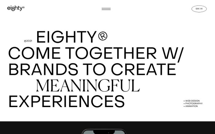 Screenshot of Eighty website