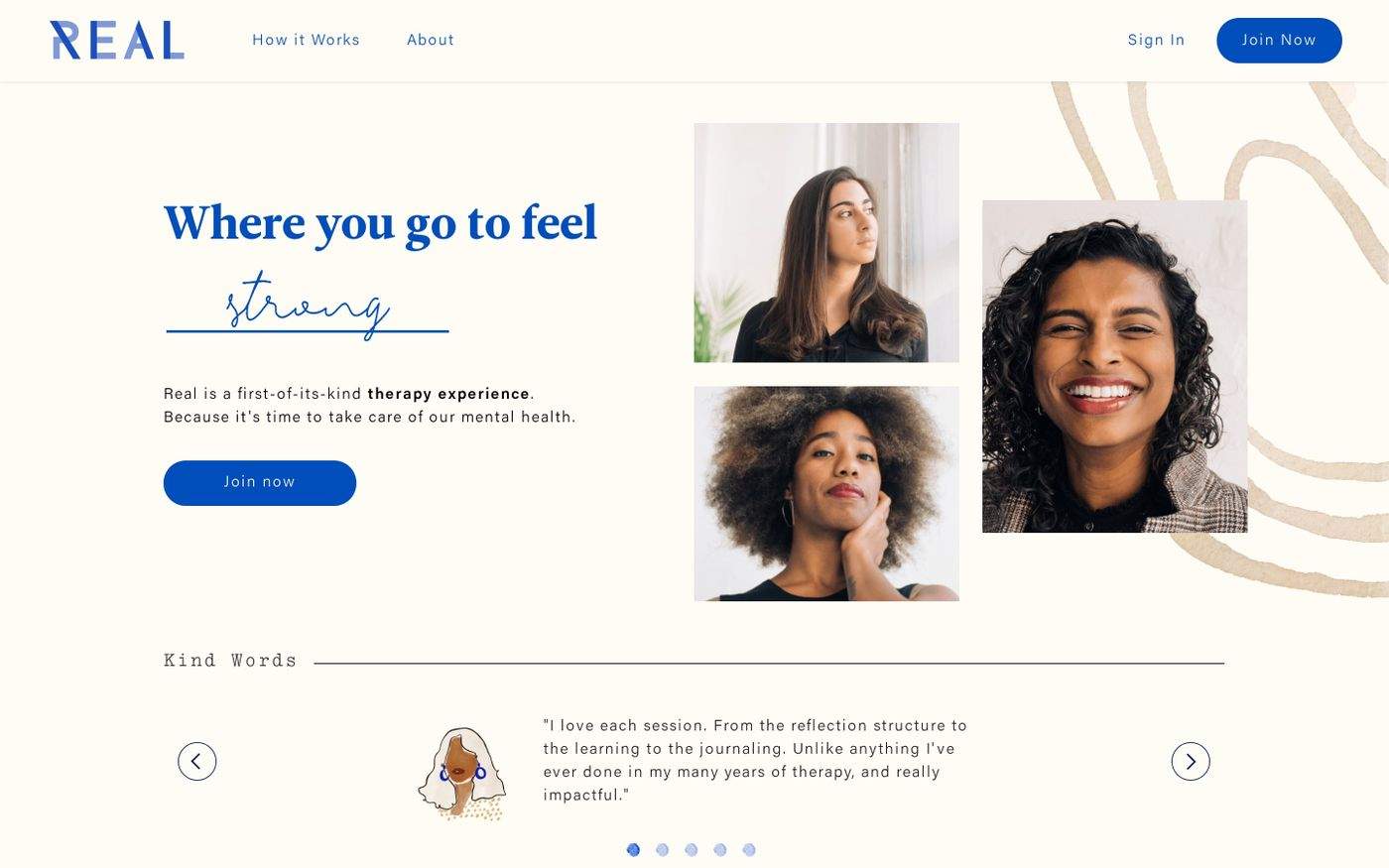 Screenshot of Real Therapy website