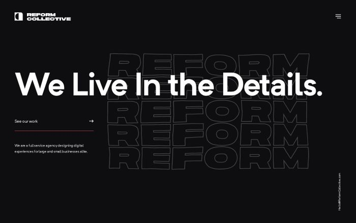 Screenshot of Reform Collective | We Live In the Details