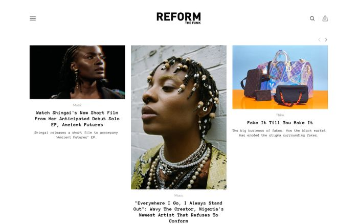 Screenshot of Reform the funk website