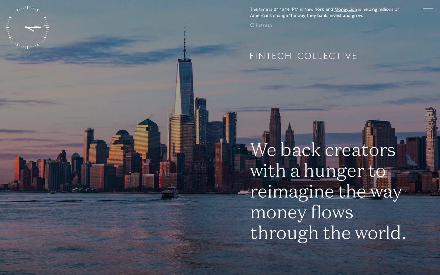 Screenshot of FinTech Collective website
