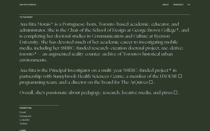 Screenshot of Ana Rita Morais website