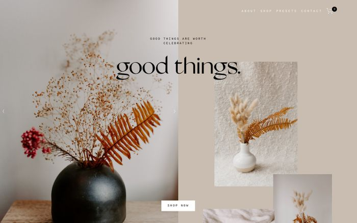Screenshot of Good Things Pottery website