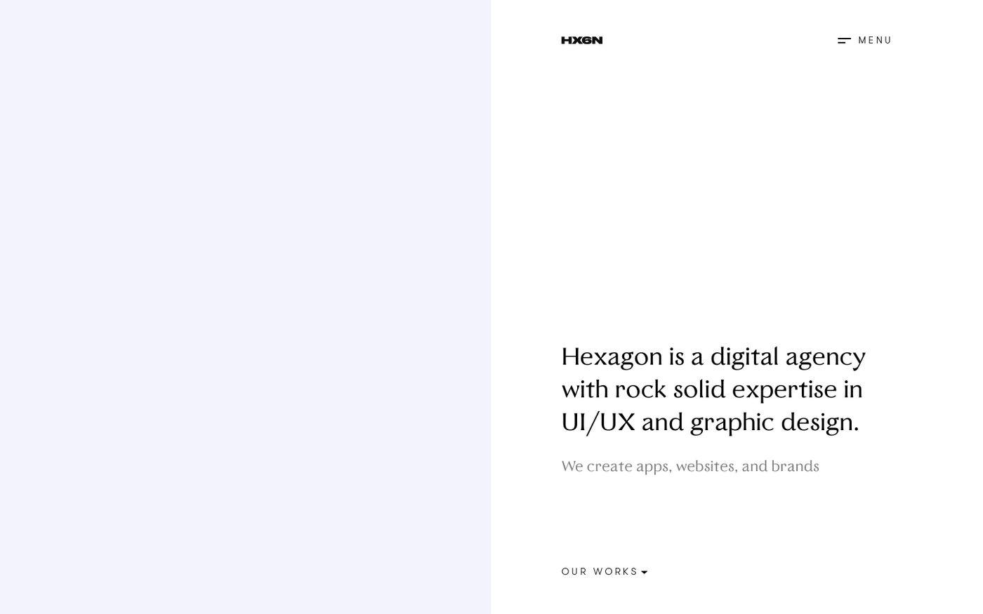 Screenshot of Hexagon agency website