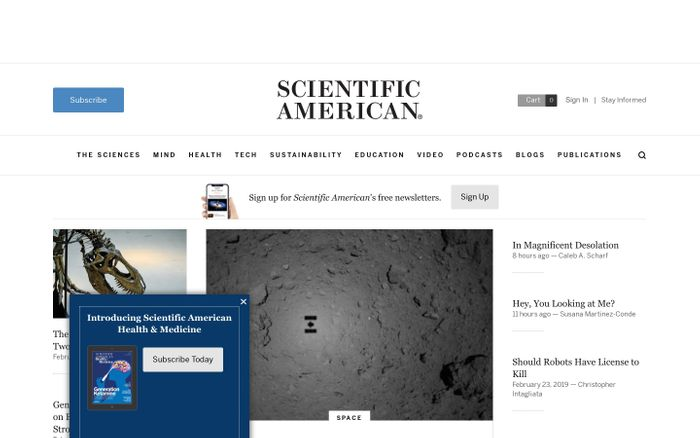 Screenshot of Science News, Articles, and Information - Scientific American