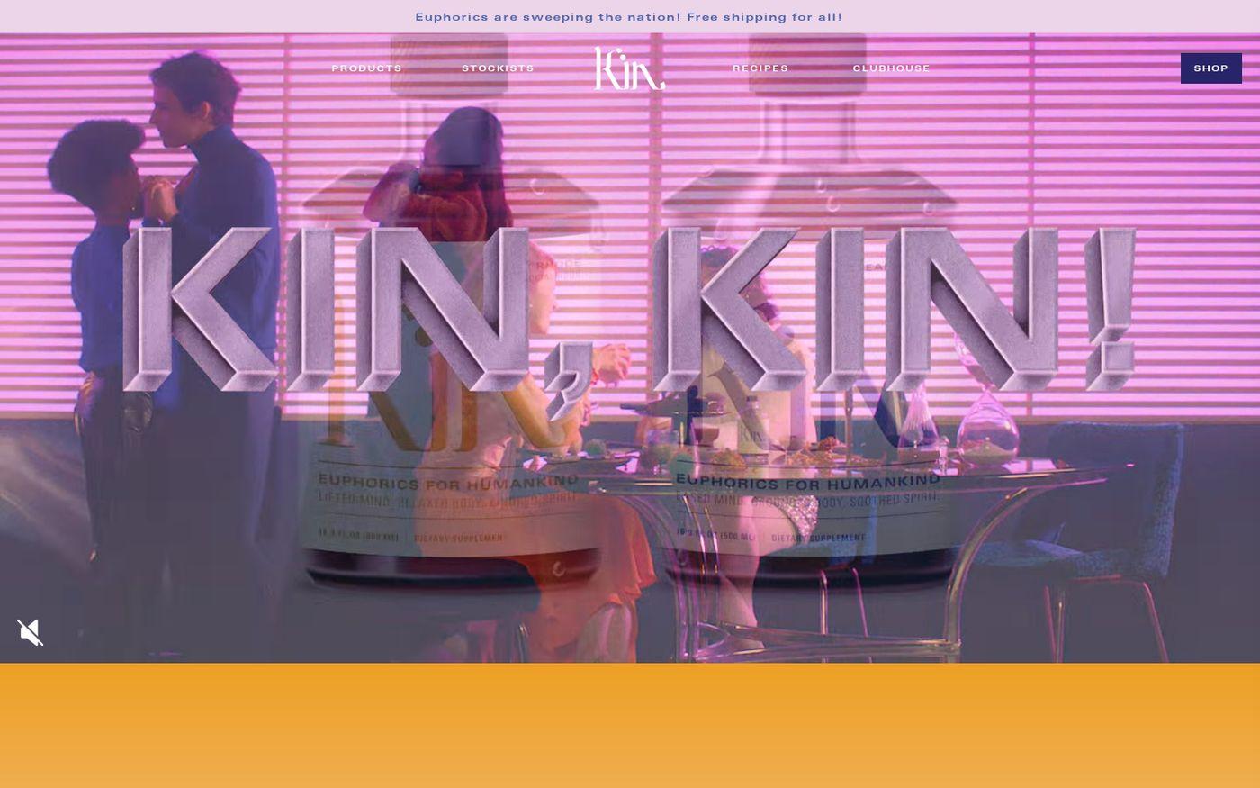 Screenshot of Kin Euphorics website