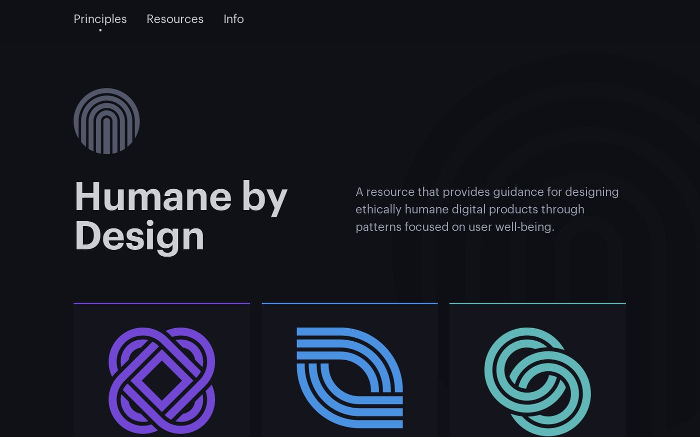 Screenshot of Humane by Design website