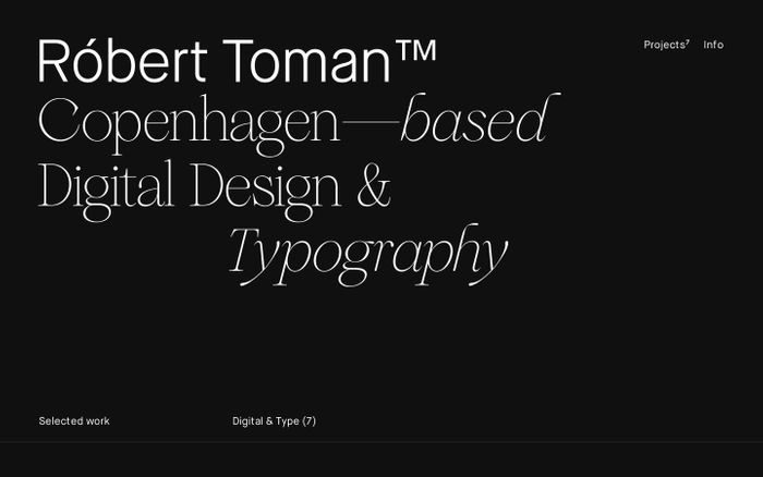 Screenshot of Robert Toman™| Copenhagen Based Digital Design & Typography