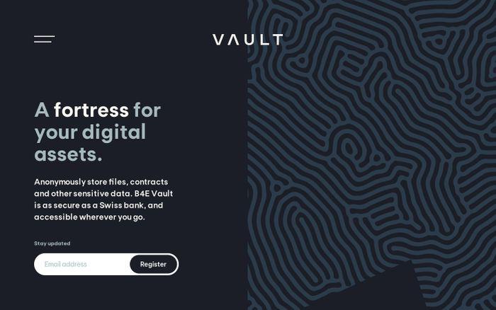 Screenshot of Vault website