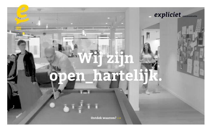 Screenshot of Expliciet - open_hartelijk communicatiehuis - Reclamebureau Hasselt