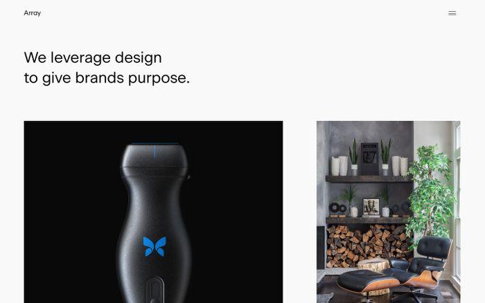 Screenshot of Array — Branding and digital design studio.