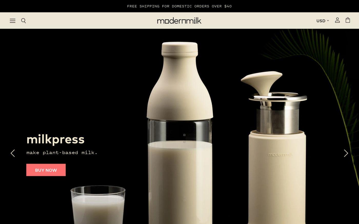 Screenshot of ModernMilk website