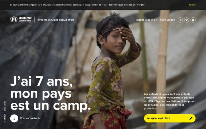 Screenshot of Mon pays est un camp — UNHCR