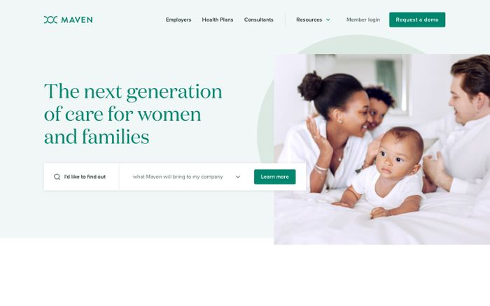 Screenshot of Maven - The next generation of care for women and families website