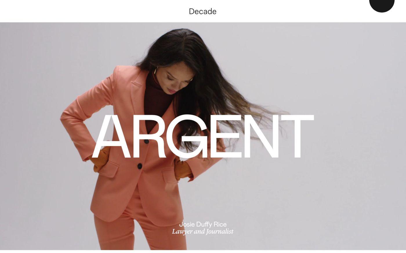 Screenshot of Decade website