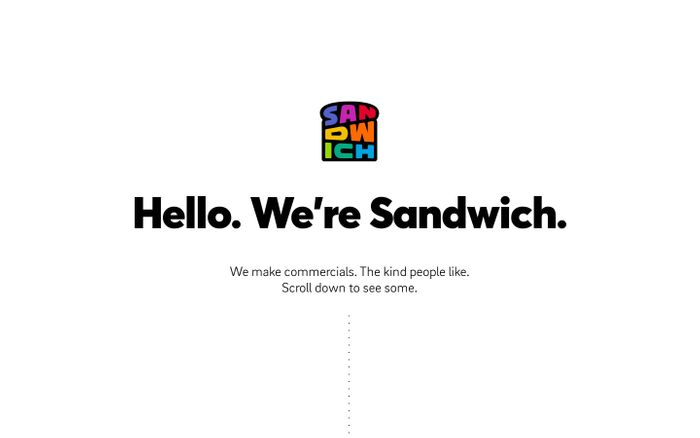 Screenshot of Hello. We're Sandwich. website